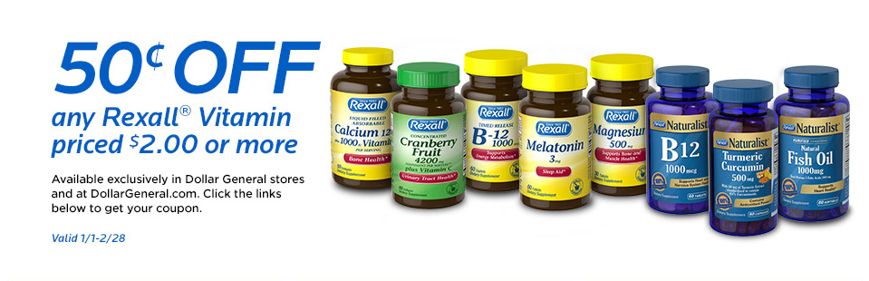 50¢ OFF any Rexall® Vitamin priced $2.00 or more. Available exclusively in Dollar General store and at DollarGeneral.com Click the links below to get your coupon. Valid 1/1-2/28.